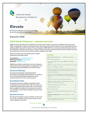 Elevate, September 2020 - The IQMH Newsletter