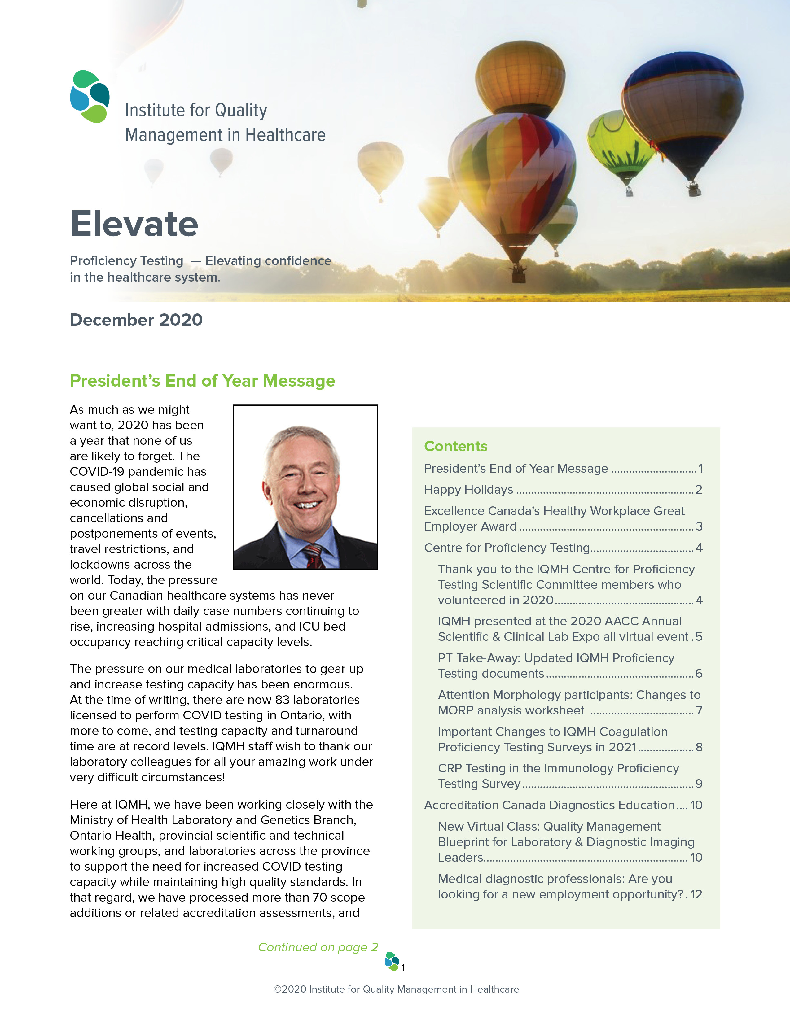 Elevate, December 2020 - The IQMH Newsletter